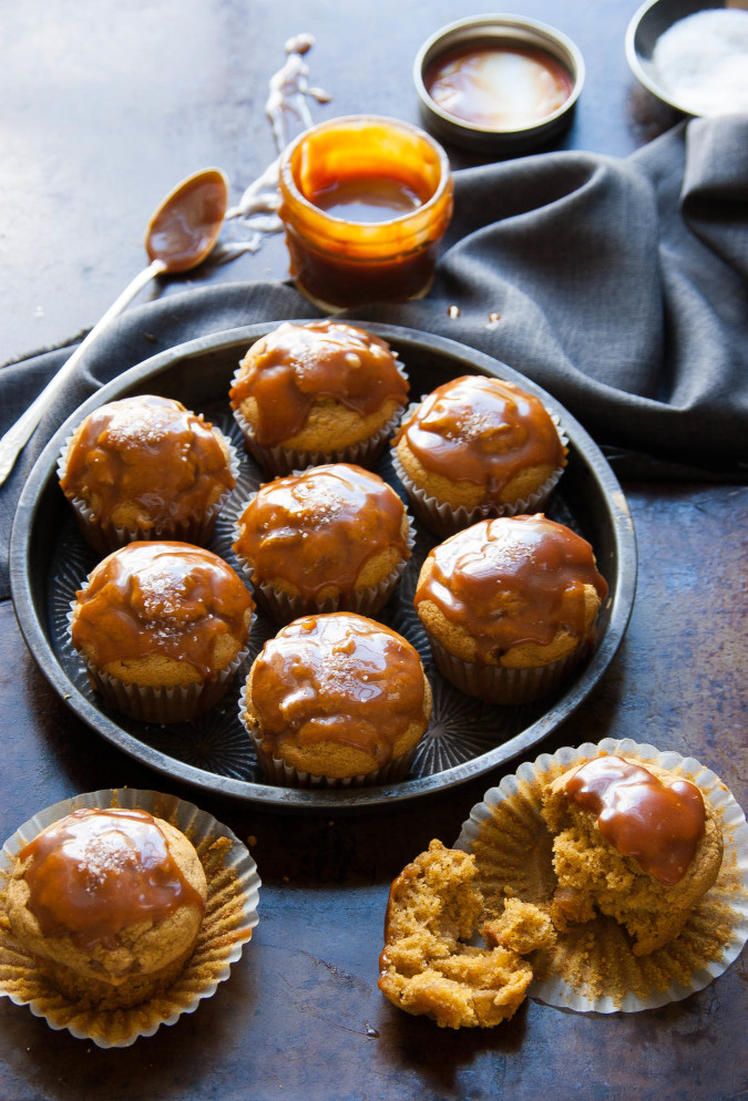 Caramel Apple Pumpkin Spiced Muffins with Salted Caramel Glaze | thekitchenmccabe.com