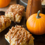 Cinnamon Caramel Pumpkin Cheesecake Shortbread Crumble Bars