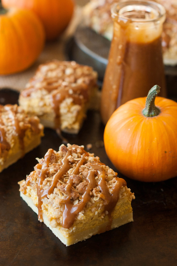Cinnamon Caramel Pumpkin Cheesecake Shortbread Crumble Bars | thekitchenmccabe.com