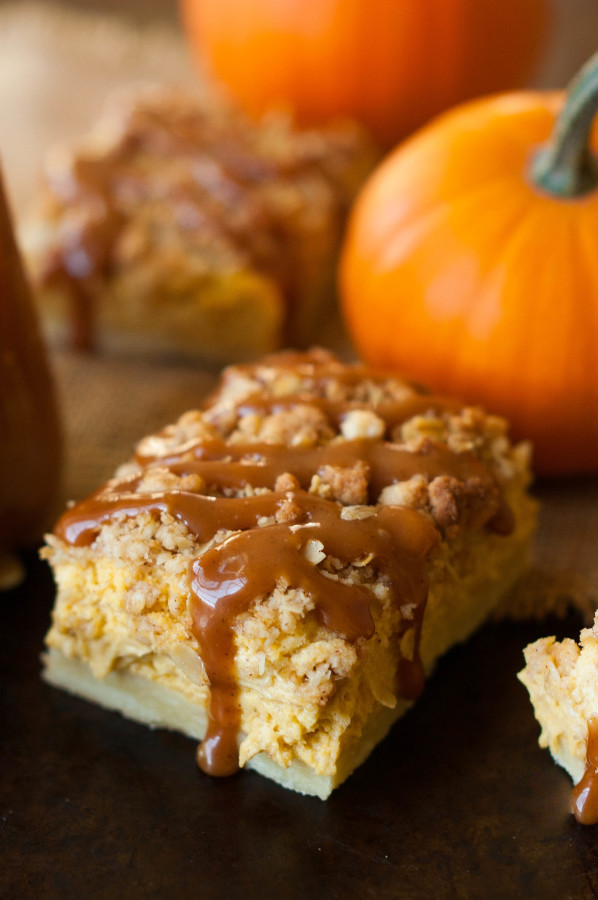 Cinnamon Caramel Pumpkin Cheesecake Shortbread Crumble Bars | thekitchenmccabe.com