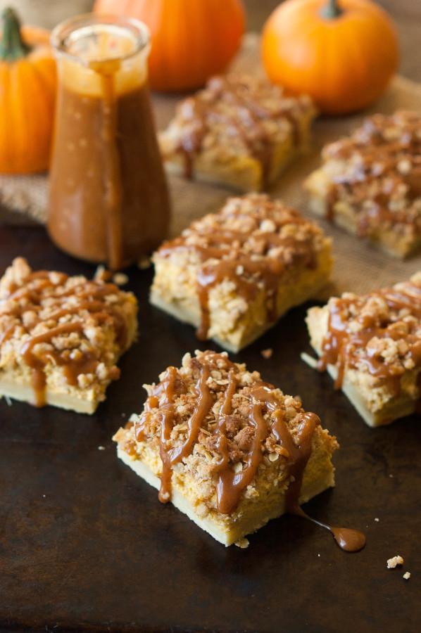 Cinnamon Caramel Pumpkin Cheesecake Shortbread Crumble Bars - The ...