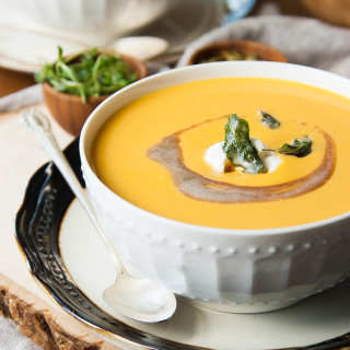 Harvest Butternut Apple Bisque. The perfect soup for a fall feast! | thekitchenmccabe.com