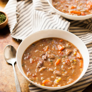 Slow Cooker Beef Vegetable Barley Soup | thekitchenmccabe.com