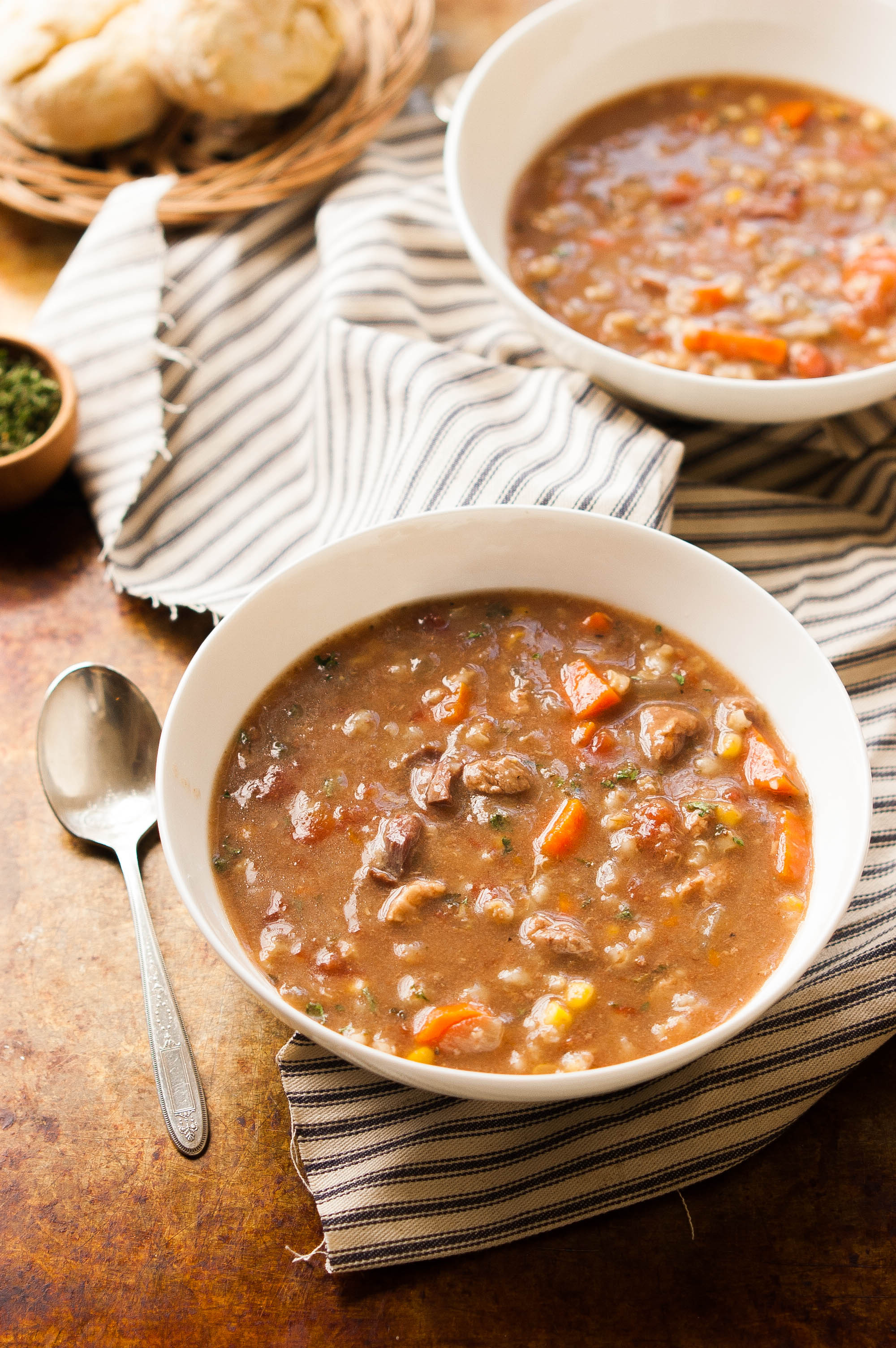 Slow Cooker Beef Vegetable Barley Soup - The Kitchen McCabe