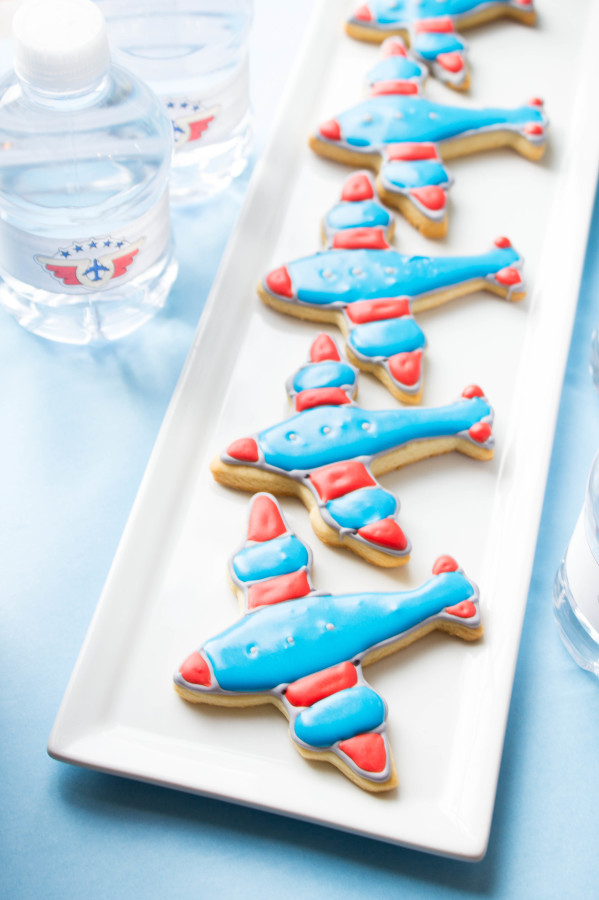 Red and Blue Airplane sugar Cookies for an Airplane themed Birthday Party | thekitchenmccabe.com