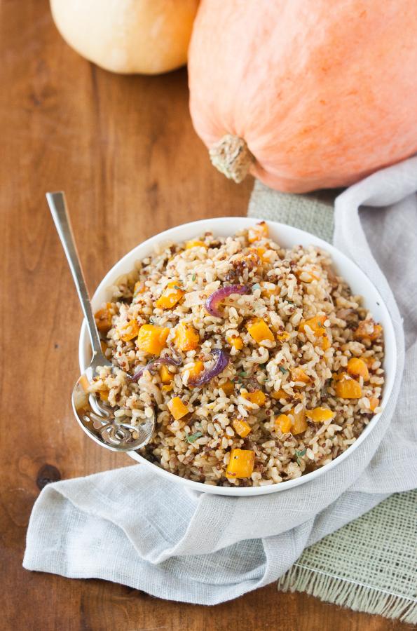 Butternut Squash Brown Rice w/ Caramelized Onions | thekitchenmccabe.com