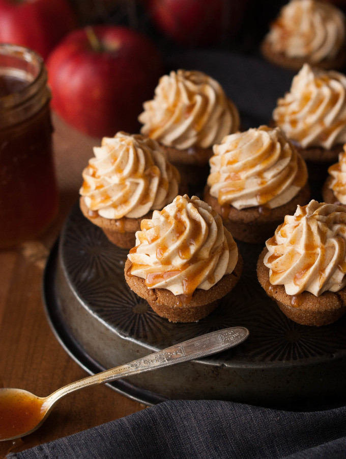 Gingerbread Cookie Cups w/ Pumpkin Mousse & Cider Caramel
