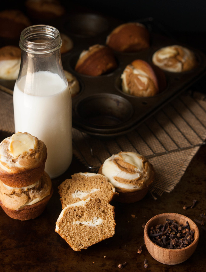Gingerbread Cream Cheese Doughnut Muffins