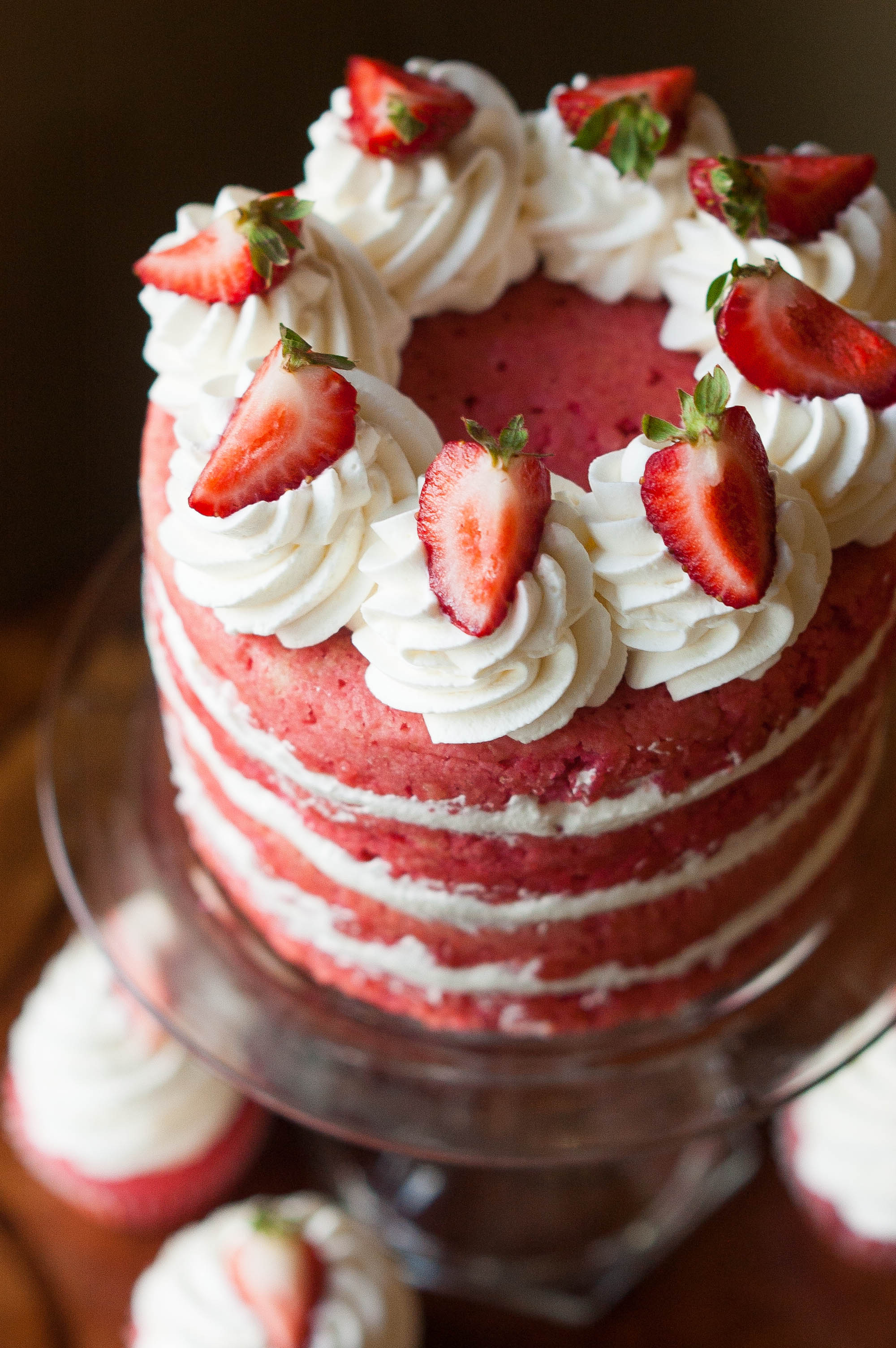 Strawberries and Corn Cream Layer Cake with White Chocolate Cap'n ...