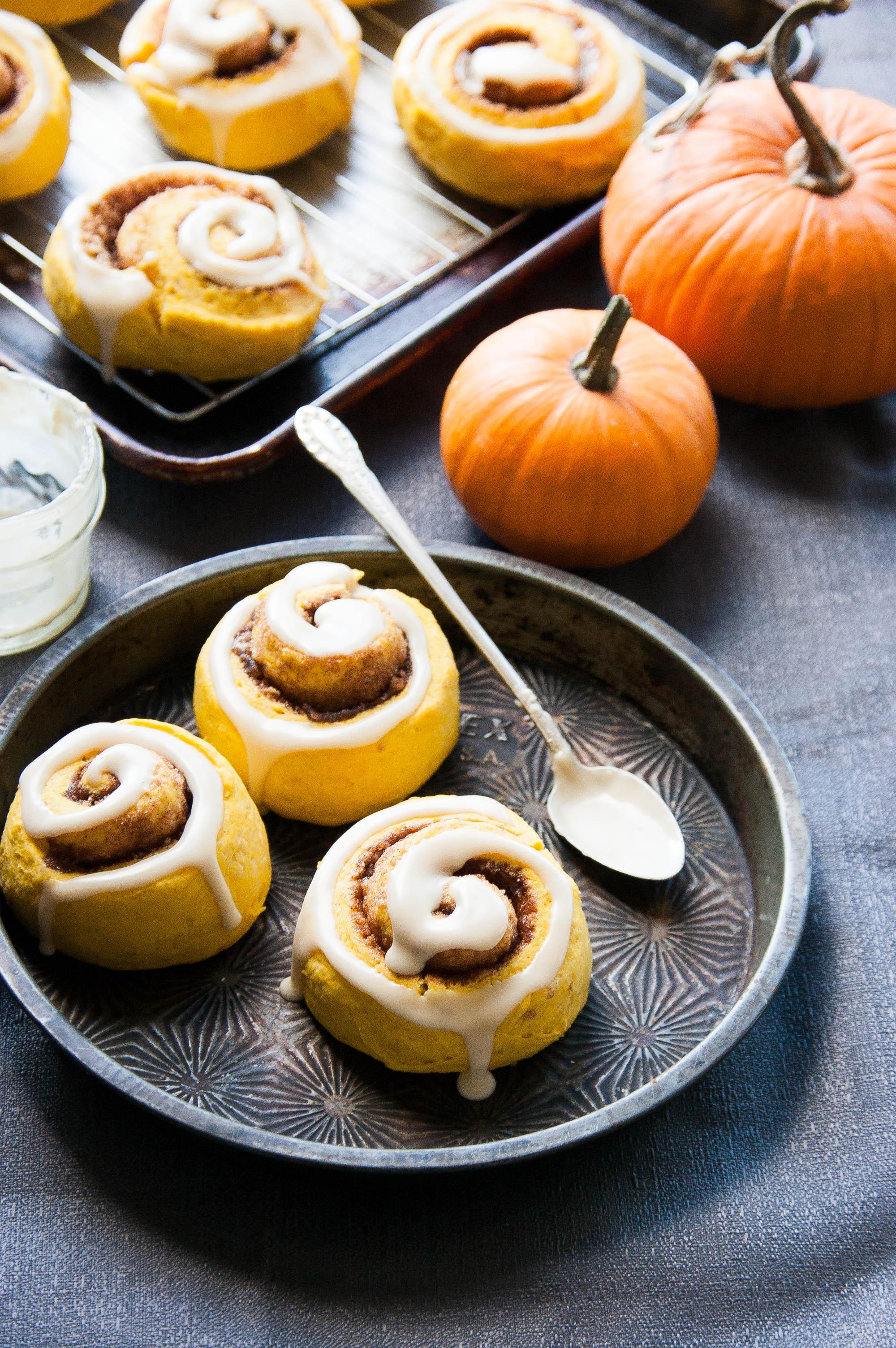 Maple-glazed Pumpkin Cinnamon Roll Scones - The Kitchen McCabe