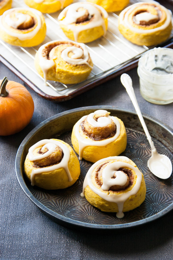Maple-glazed Pumpkin Cinnamon Roll Scones | thekitchenmccabe.com