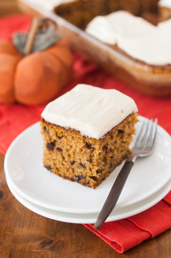 Pumpkin Chocolate Chip Snack Cake w/ Cream Cheese Frosting | thekitchenmccabe.com