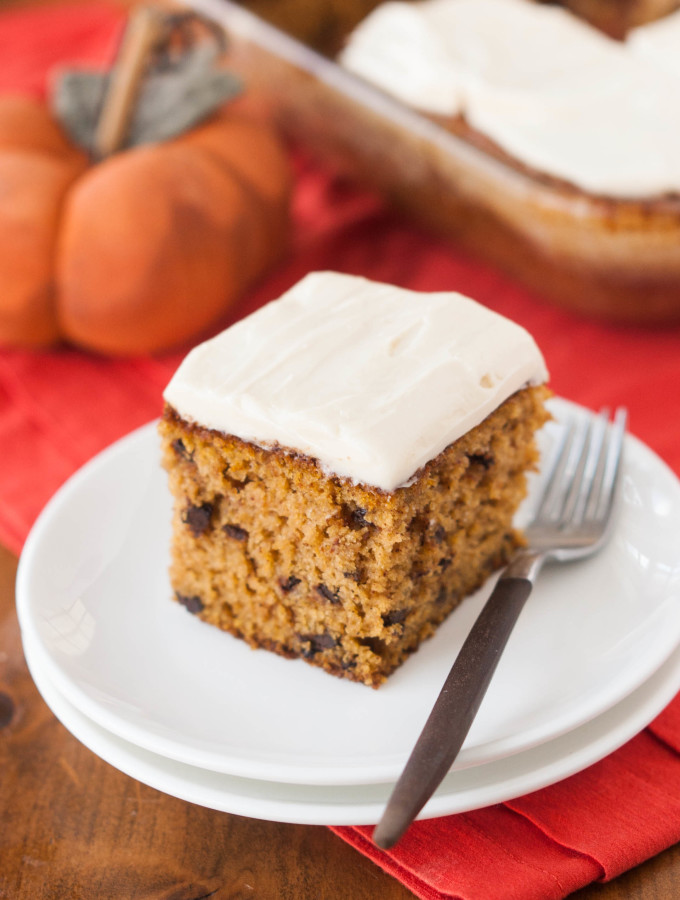 Pumpkin Chocolate Chip Snack Cake w/ Cream Cheese Frosting