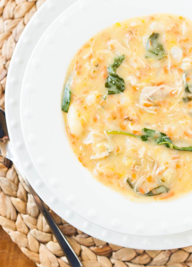 Slow Cooker Creamy Chicken Gnocchi Soup | thekitchenmccabe.com