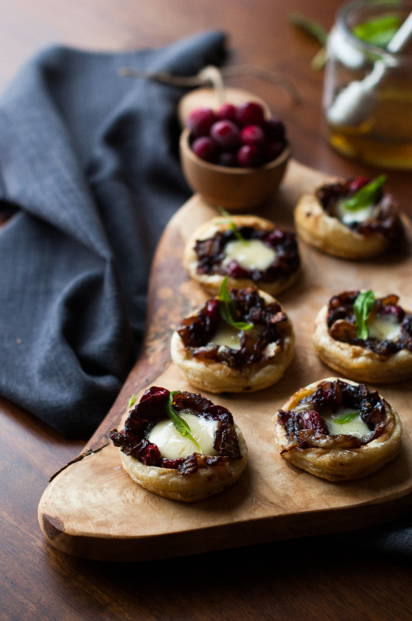 Caramelized Onion Cranberry Swiss Tartlets | thekitchenmccabe.com