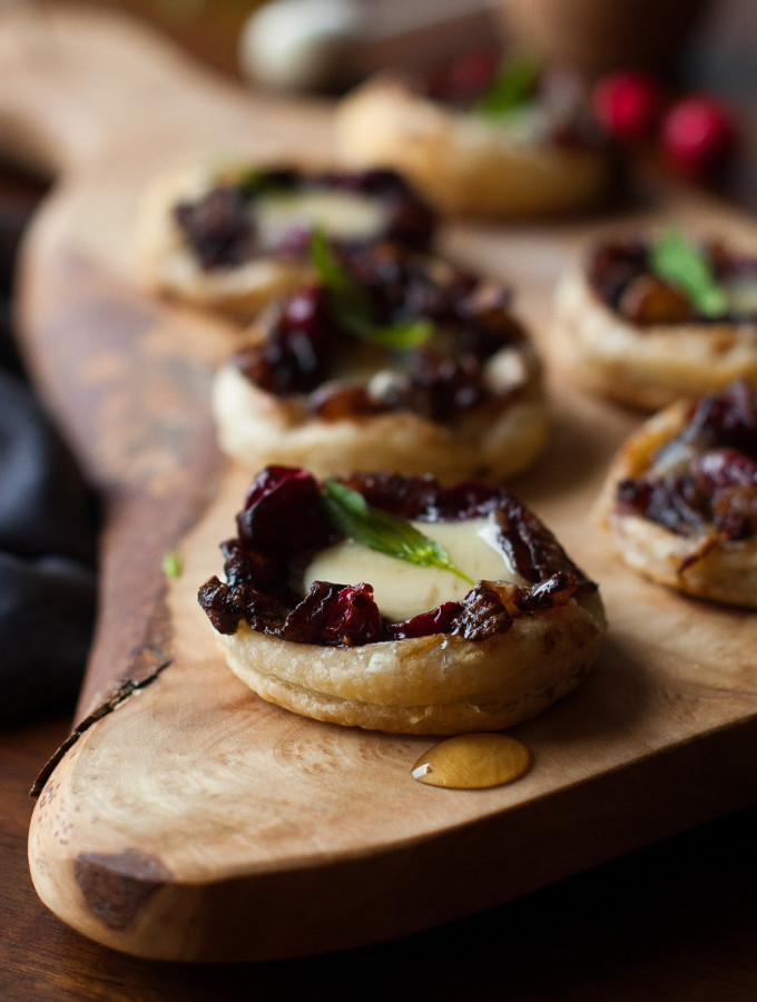 Caramelized Onion Cranberry Swiss Tartlets