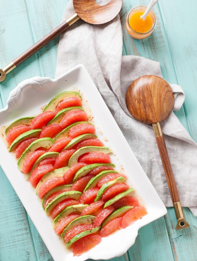 Grapefruit Avocado Salad w/ Mustard Honey Vinaigrette