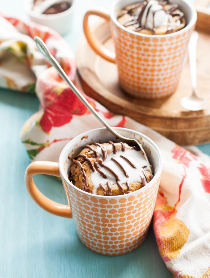 Banana Nutella Molten Lava Mug Cakes