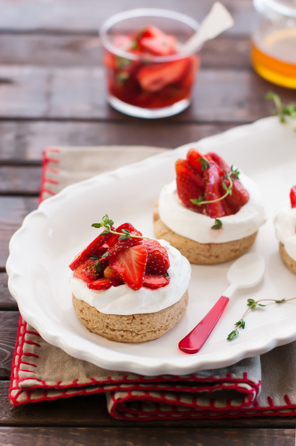 Whole Grain Shortcakes with Honey Thyme Strawberries | thekitchenmccabe.com