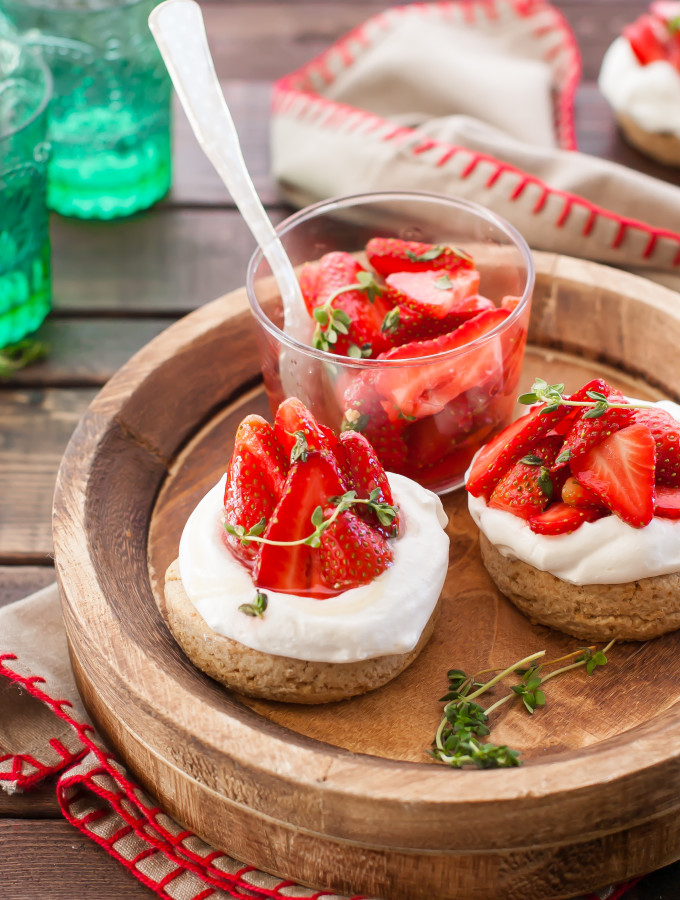 Whole Grain Shortcakes with Honey Thyme Strawberries