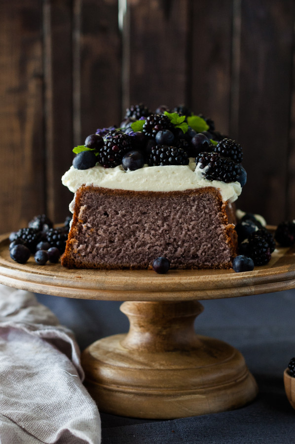 Blueberry Lavender Pound Cake with Lemon Mascarpone Cream | thekitchenmccabe.com