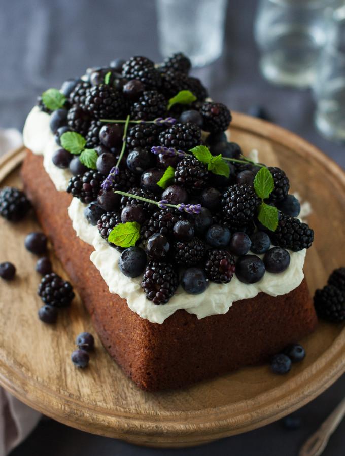 Blueberry Lavender Pound Cake with Lemon Mascarpone Cream
