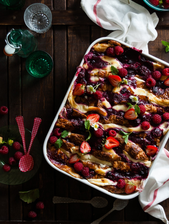 Mixed Berry Goats Cheese Croissant Bread Pudding