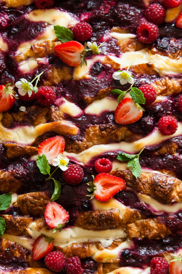 Mixed Berry Goats Cheese Croissant Bread Pudding | thekitchenmccabe.com