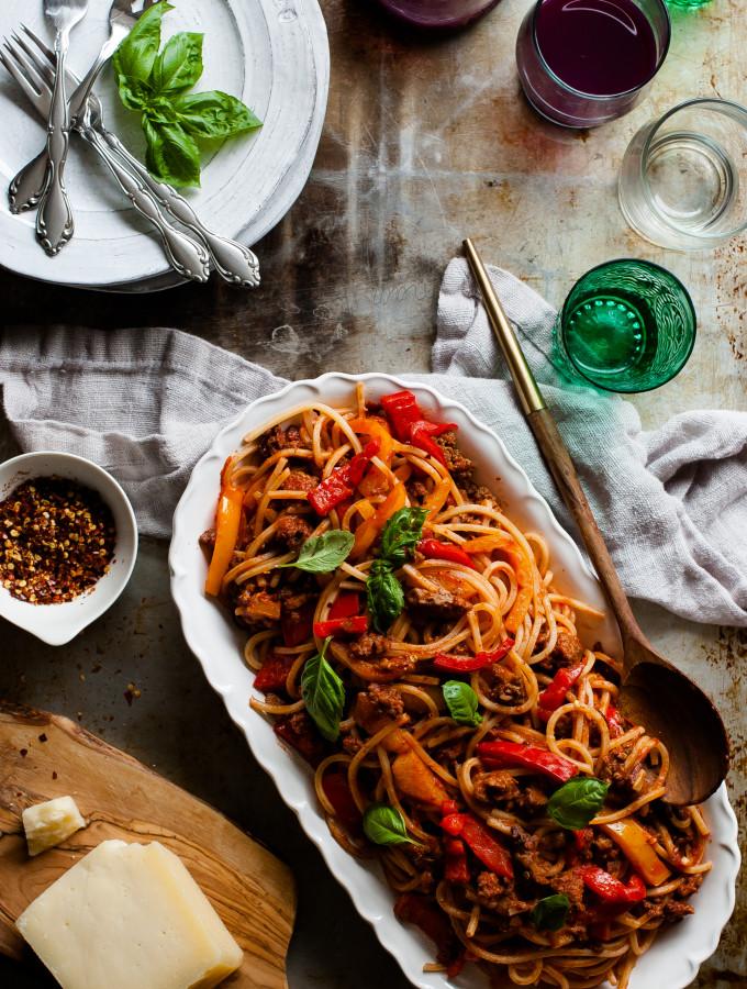 Spaghetti alla Chitarra with Sweet Pepper Lamb Ragu