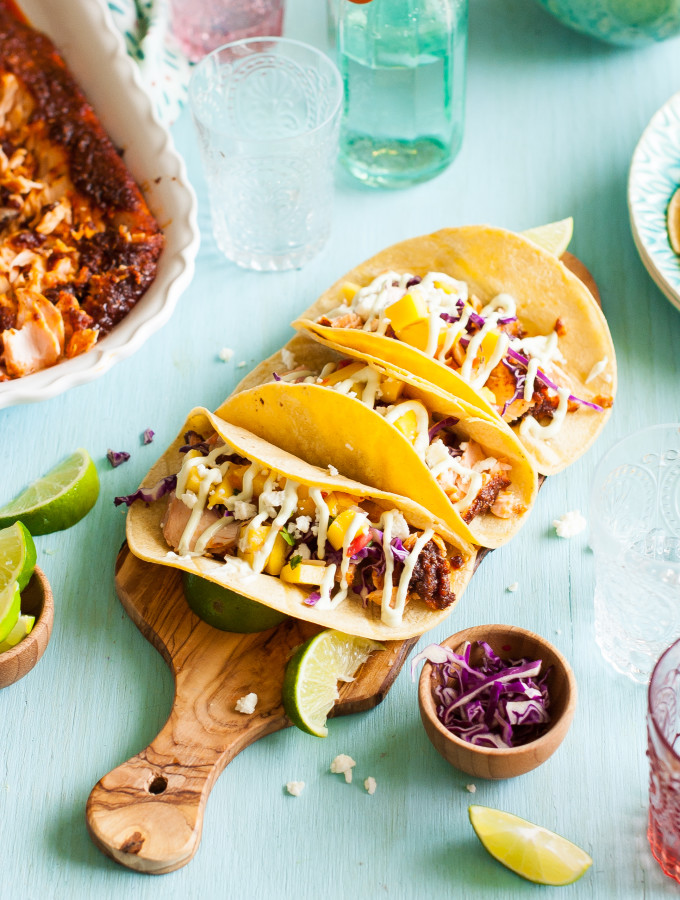 Sweet & Spicy Baked Salmon Tacos with Mango Salsa & Avocado Lime Crema
