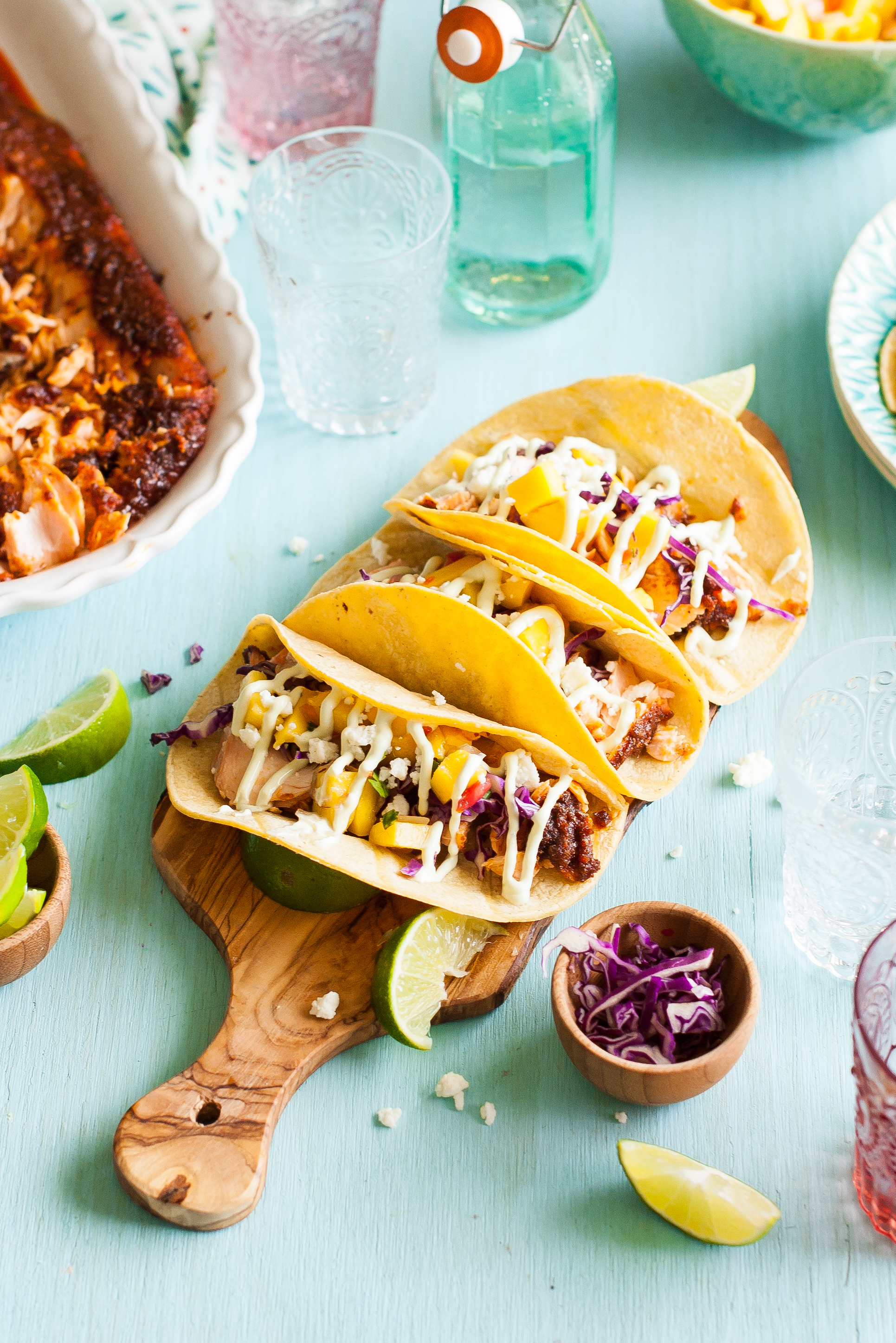 Sweet & Spicy Baked Salmon Tacos with Mango Salsa & Avocado Lime ...