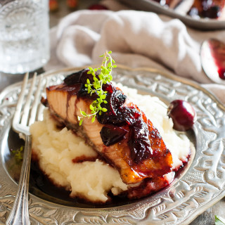 Balsamic Black Pepper Cherry Glazed Salmon