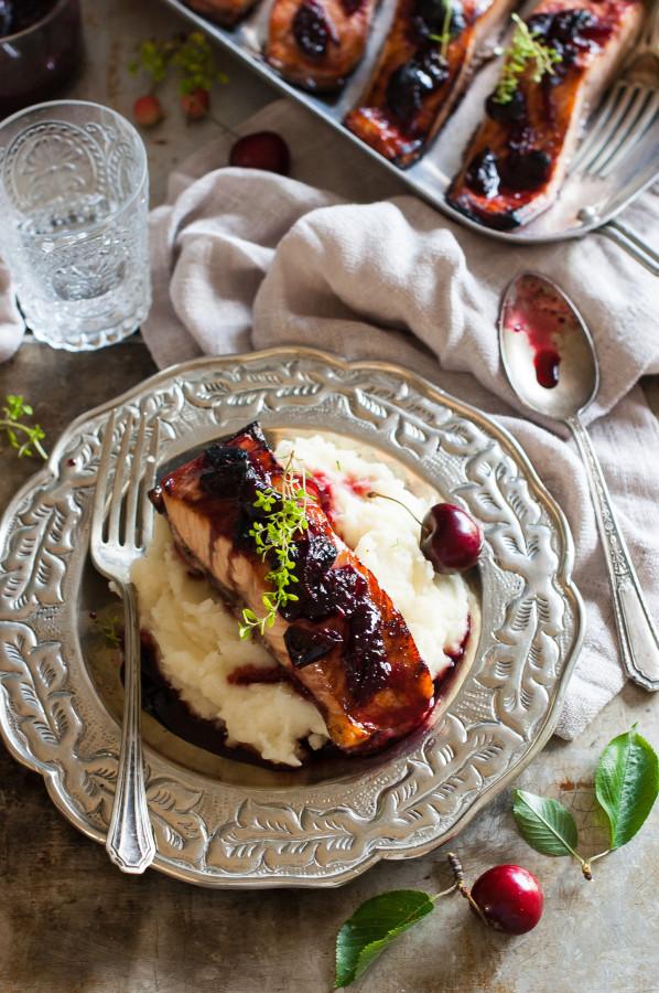 Balsamic Black Pepper Cherry Glazed Salmon