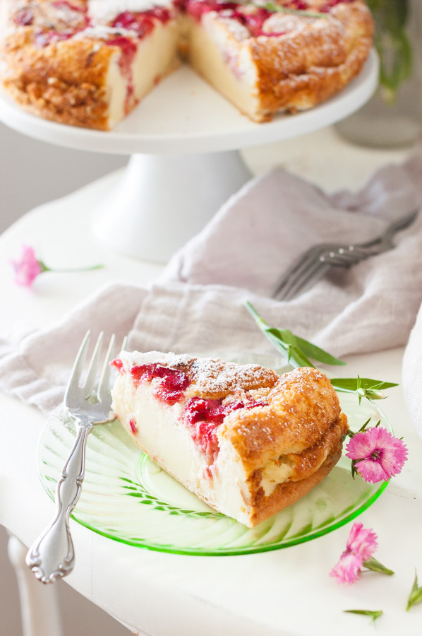 Rhubarb Magic Custard Cake