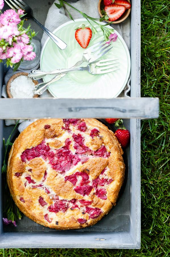 Rhubarb Magic Custard Cake