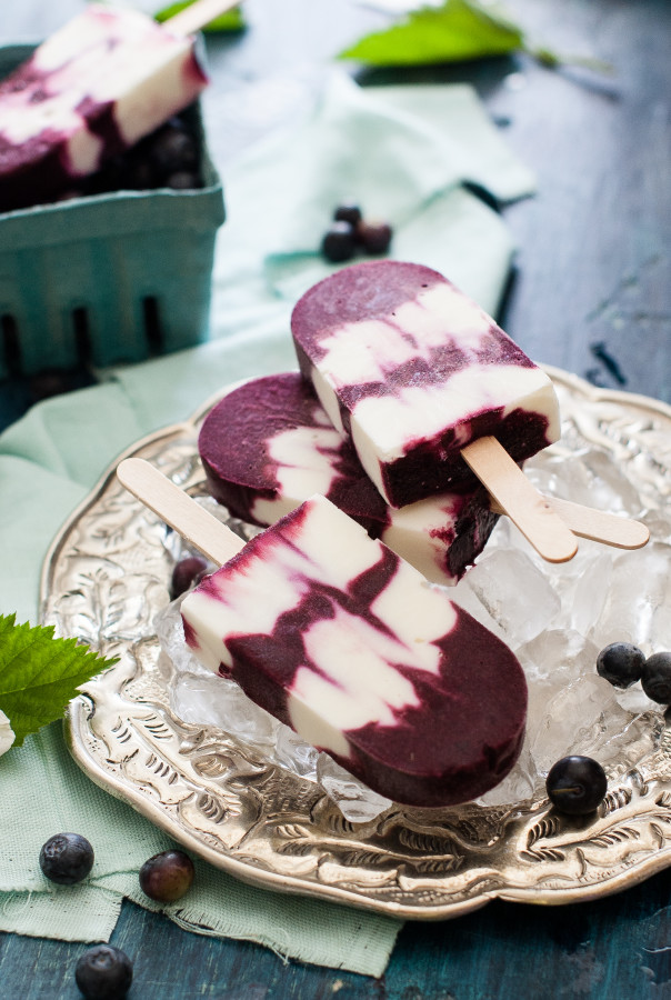 Roasted Blueberry Balsamic Goats Cheese Frozen Yogurt Pops