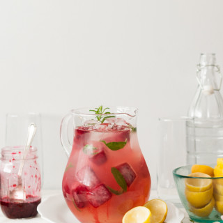 Lemon Verbena Lemonade with Smashed Blackberry Ice