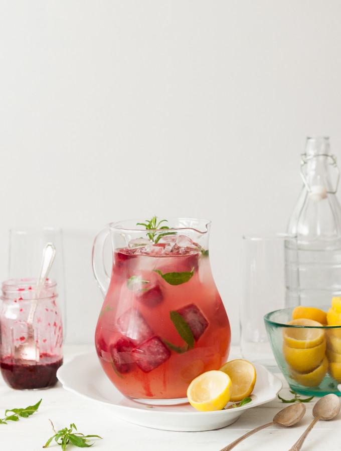 Lemon Verbena Lemonade with Smashed Blackberry Ice