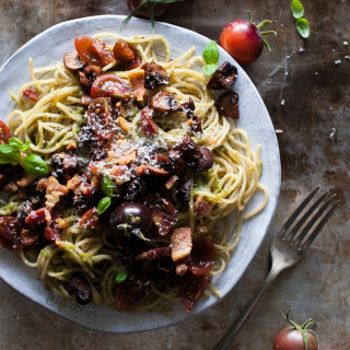 Pesto Pasta with Crispy Salt Pork, Sauteed Mushrooms & Balsamic Tomatoes