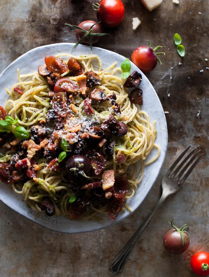 Pesto Pasta with Crispy Salt Pork, Sauteed Mushrooms, & Balsamic Tomatoes