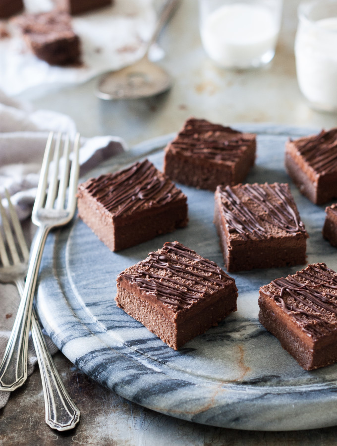 Raw Chocolate Cake Brownies with Fluffy Chocolate Frosting