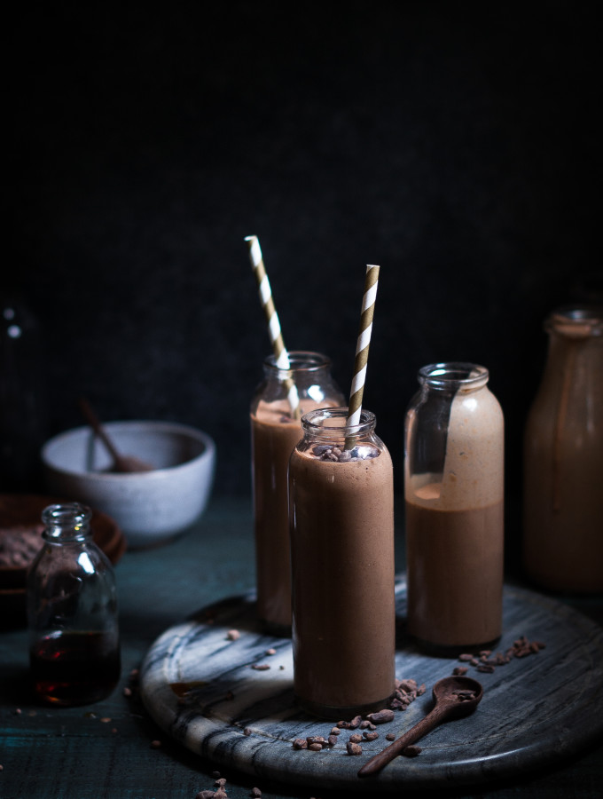 Toasted Coconut Chocolate Peanut Butter Banana Smoothie