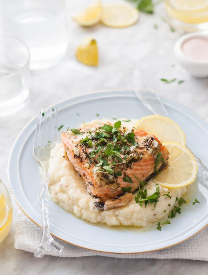 Herb Roasted Salmon & Celeriac Yukon Mash