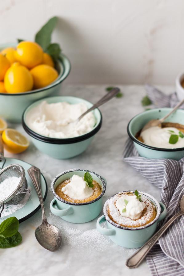 Meyer Lemon Pudding Cakes + Honeyed Chevre Whipped Cream