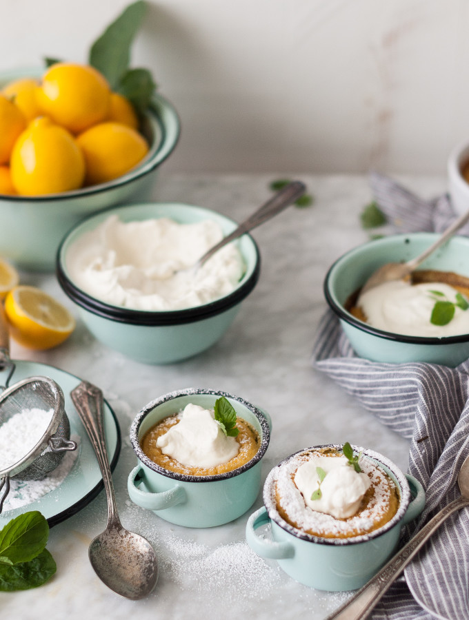 Meyer Lemon Pudding Cakes + Honeyed Chevre Whipped Cream