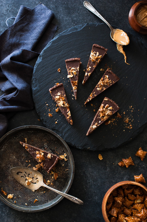 Mostly Raw Chocolate Peanut Butter Truffle Tart