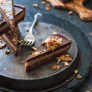 Mostly Raw Chocolate Peanut Butter Truffle Tart