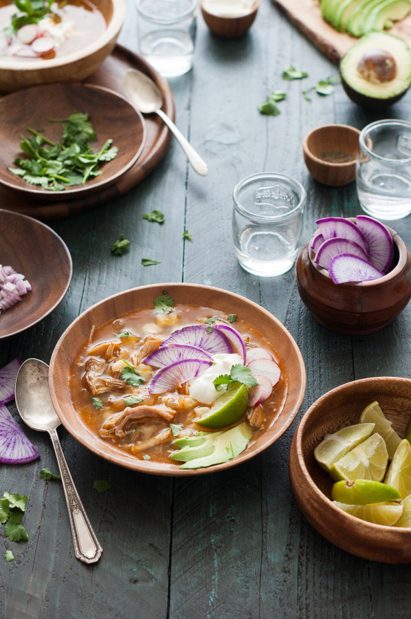 Slow Cooker Pozole (with ALL the toppings!)