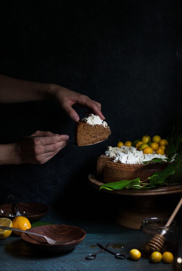 Meyer Lemon Olive Oil Cake with Fresh Ricotta & Honey