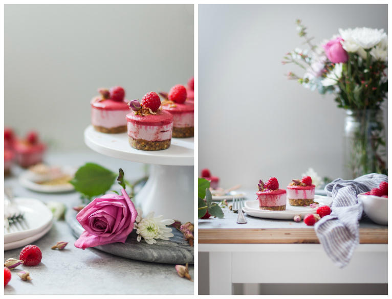 Raspberry Rose Mini Cheesecakes with Pistachio Crumble {gluten, dairy, refined sugar free}